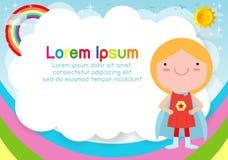 Bohatera dzieciak na tle Szablon dla reklamowej broszurki, twój tekst Śliczni mali bohaterów dzieci Dzieciaki i rama ilustracji