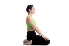 Bohatera joga poza z poduszką Zdjęcie Stock