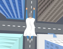 Bohatera latanie nad miasto ilustracja Royalty Ilustracja