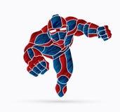 Bohatera robota latająca akcja, kreskówka bohater royalty ilustracja