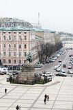 Bohdan Khmelnytsky Monument. KYIV, UKRAINE - CIRCA NOVEMBER 2013 - Areal view of Sofia square and Bohdan Khmelnytsky monument in the center of Kyiv (Kiev) Stock Images