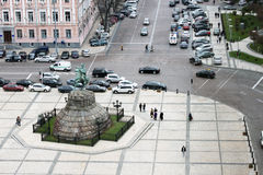 Bohdan Khmelnytsky Monument. KYIV, UKRAINE - CIRCA NOVEMBER 2013 - Areal view of Sofia square and Bohdan Khmelnytsky monument in the center of Kyiv (Kiev) Stock Image