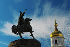 Bohdan Khmelnytsky monument and Sofia church Royalty Free Stock Image