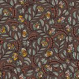 Boheems Retro Bloemen overal Geworpen Patroon, de Hand Getrokken Naadloze Vector Volksillustratie van de Stijlbloem royalty-vrije illustratie