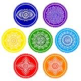 Boheemse Indische chakra Mandalas De uitstekende stijl van de Hennatatoegering Stock Afbeeldingen