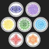 Boheemse Indische chakra Mandalas De uitstekende stijl van de Hennatatoegering Stock Fotografie