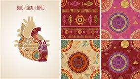 Boheemse, Stammen, Etnische achtergrond met hart vector illustratie