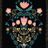 Boheemse stijl roze, gouden bloemen en wintertalingsbladeren Het document verwijderde effect op bladeren Naadloos vectorpatroon m vector illustratie