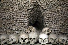 Bohemia, Kutna Hora, Czech Republic - Decoration made from human bones and skulls in Bone church or Sedlec Ossuary. Bohemia, Kutna Hora, Czech Republic royalty free stock photos