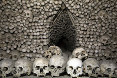 Bohemia, Kutna Hora, Czech Republic - Decoration made from human bones and skulls in Bone church or Sedlec Ossuary Royalty Free Stock Photos