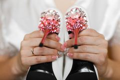 Bohemia wedding shoes. With a crystal royalty free stock photography