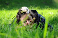 Bohemia woman in a park Stock Photography