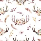 Tribal seamless pattern of watercolor floral boho antler print. western boho decoration. Hand drawn vintage deer horns. Bohemiamn seamless pattern of watercolor Stock Illustration