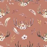 Tribal seamless pattern of watercolor floral boho antler print. western boho decoration. Hand drawn vintage deer horns. Bohemiamn seamless pattern of watercolor Vector Illustration