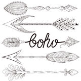 Bohemian Arrows set with henna feathers. Hand drawn zentangle Ar Stock Photos