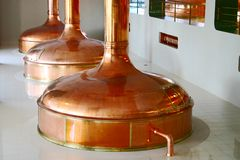 Bohemian brewery. Copper tanks in bohemian brewery royalty free stock photo