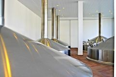 Bohemian brewery with stainless steel tanks Stock Image
