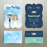 Bohemian cartoon couple on the beach wedding card template set Stock Images