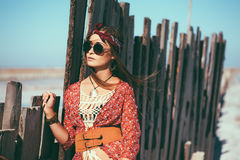 Bohemian chic styled model stock image