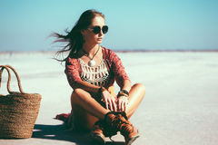 Bohemian chic styled model royalty free stock image