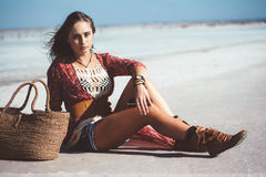 Bohemian chic styled model royalty free stock photography