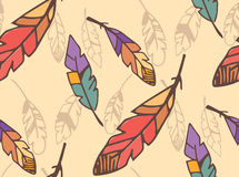 Bohemian colorful feathers, hand drawn, seamless pattern Royalty Free Stock Images
