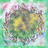 Bohemian do verde da sujeira da luz do sumário do papel de parede do Grunge do Batik Imagens de Stock