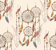 Bohemian dream catcher with beads and feathers, seamless pattern royalty free illustration