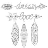 Bohemian Dream, love Arrows set with feathers for adult coloring Stock Images