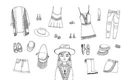 Bohemian fashion style set. Boho and gypsy clothes, accessories collection. Contour hand drawn illustration. Bohemian fashion style set, Boho and gypsy clothes vector illustration