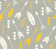 Bohemian feathers and arrows, seamless pattern Stock Images