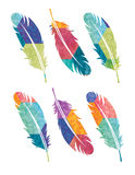 Bohemian Feathers. A set of feathers with a colorful bohemian patchwork pattern Royalty Free Stock Photos