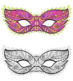 Bohemian Festive Masks set. Decorative Vector carnival elements. For adult coloring pages, fashion print, hand drawn ethnic patterned t-shirt print. Boho chic Royalty Free Stock Photo