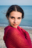 Bohemian girl on a beach Royalty Free Stock Images