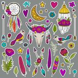 Bohemian girly set of stickers royalty free illustration