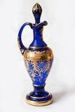 Bohemian glass vase. Blue vase of bohemian glass stock photo
