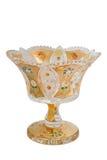 Bohemian glass vase. Golden vase of bohemian glass royalty free stock images