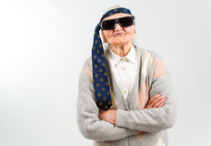 Bohemian grandma with a tie on her forehead Stock Photo