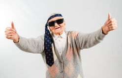 Bohemian grandma with a tie on her forehead Stock Photos