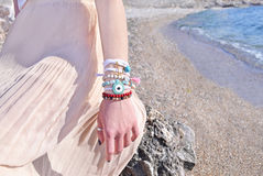 Bohemian greek jewelry advertisement Stock Photography