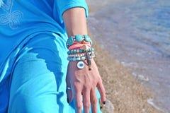 Bohemian greek jewelry advertisement Stock Photo