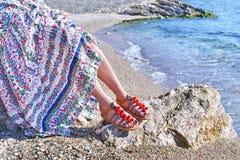 Bohemian greek sandals advertisement Stock Photos