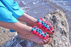 Bohemian greek sandals advertisement Stock Image