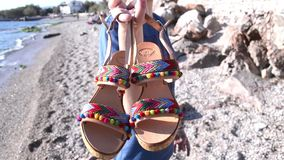 Bohemian greek sandals advertisement