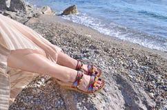 Bohemian greek sandals advertisement Royalty Free Stock Images