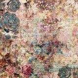 Bohemian gypsy floral antique vintage grungy shabby chic artistic abstract graphical background with roses. Bohemian gypsy floral antique vintage grungy shabby Stock Image