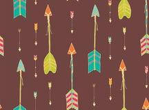 Bohemian hand drawn arrows, seamless pattern Stock Photo