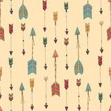 Bohemian hand drawn arrows, seamless pattern Stock Photography