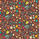 Bohemian hand drawn flowers, seamless pattern Royalty Free Stock Image