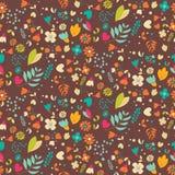 Bohemian hand drawn flowers, seamless pattern Stock Image